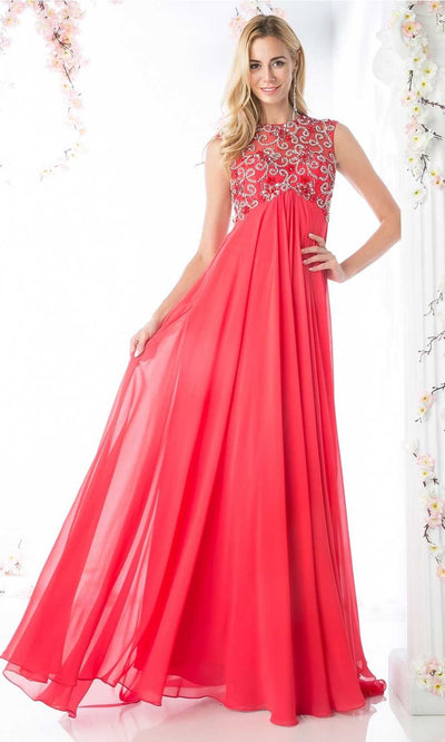 Cinderella Divine - J741 Beaded Chiffon Dress In Pink