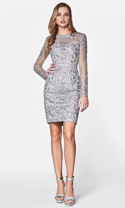 Cinderella Divine - J776 Beaded Short Dress In Silver