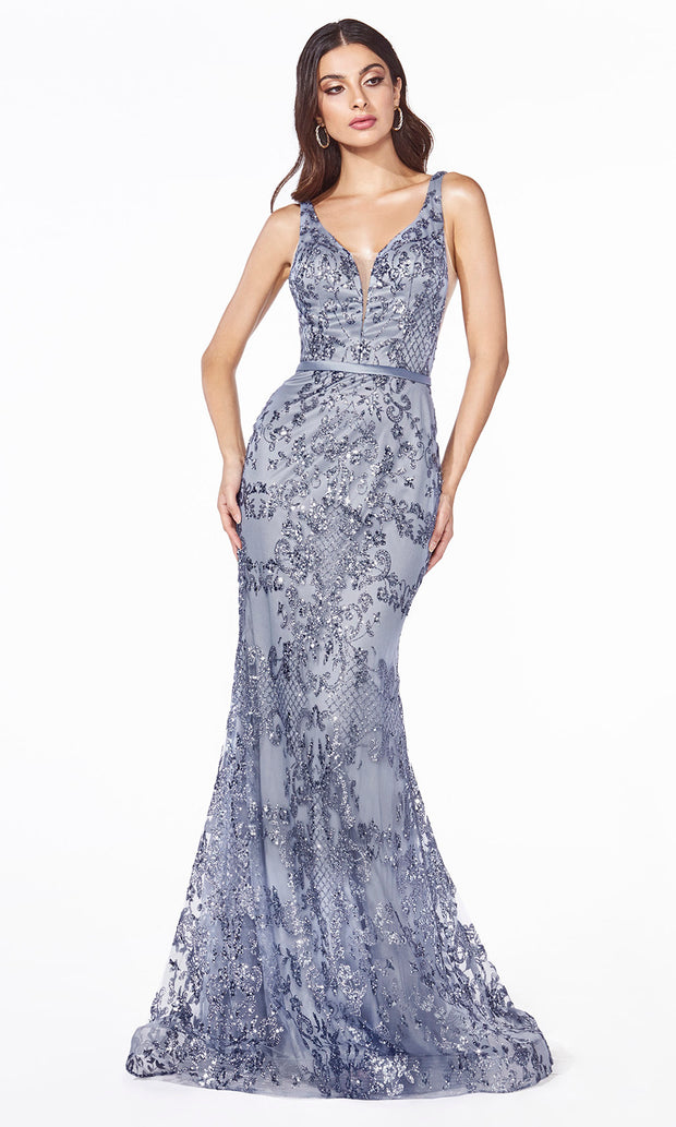 Cinderella Divine J785 long smoky blue mermaid sequin evening dress