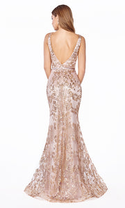Cinderella Divine J785 long rose gold mermaid sequin evening dress - back