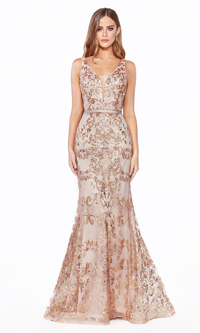 Cinderella Divine J785 long rose gold mermaid sequin evening dress