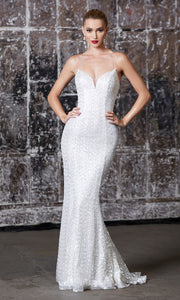 Cinderella Divine J787 long white sequin open back dress