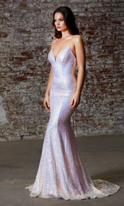 Cinderella Divine J787 long opal blush sequin open back dress