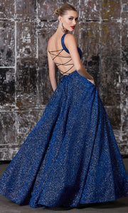 Cinderella Divine J792 Navy Metallic Long Dress - Back