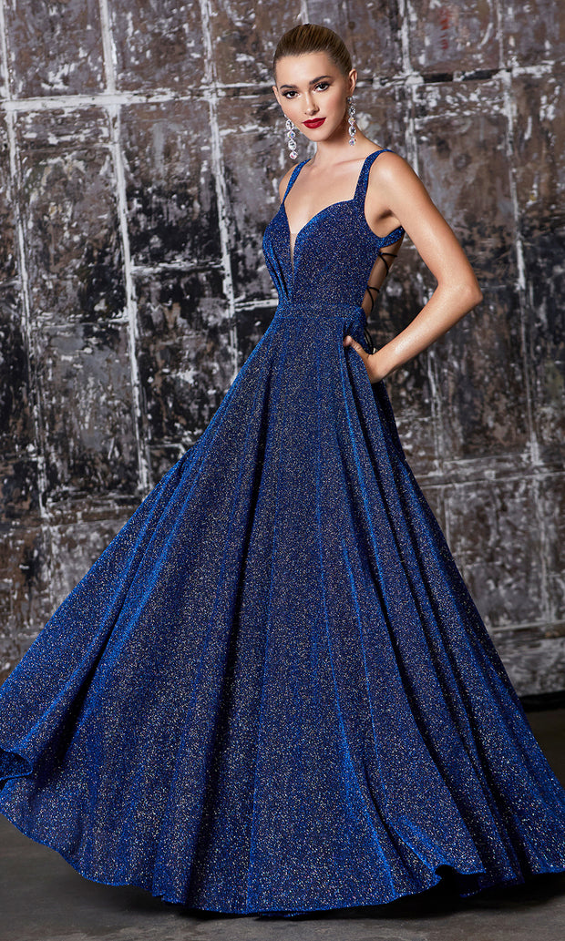 Cinderella Divine J792 Navy Metallic Long Dress