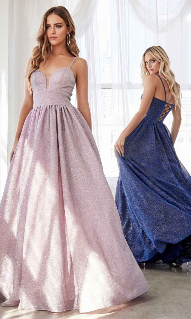 Cinderella Divine - J796 Glitter A-Line Gown In Pink and Blue