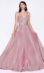 Cinderella Divine - J8589 Pleated V Neck Gown In Pink