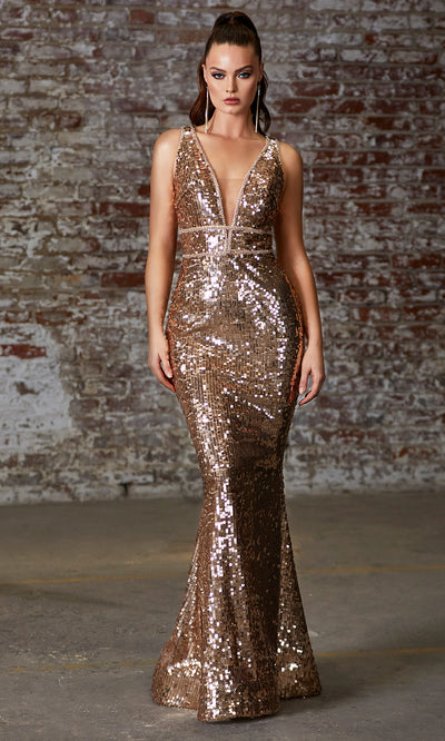 Cinderella Divine J8781 long gold sequin mermaid dress