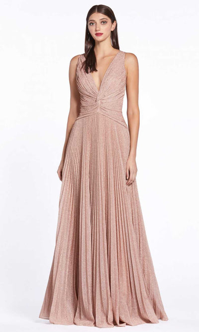 Cinderella Divine - J9041 Metallic V Neck Dress In Pink