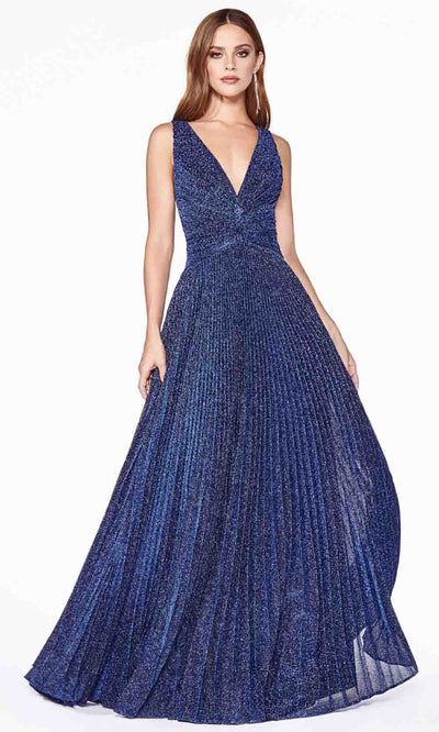 Cinderella Divine - J9041 Metallic V Neck Dress In Blue