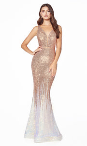 Cinderella Divine J9273 long champagne sequin beaded mermaid dress