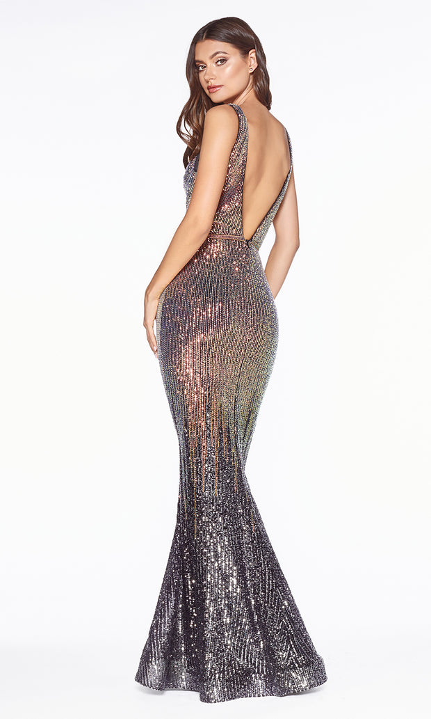 Cinderella Divine J9273 long gunmetal silver sequin beaded mermaid dress - back of dress
