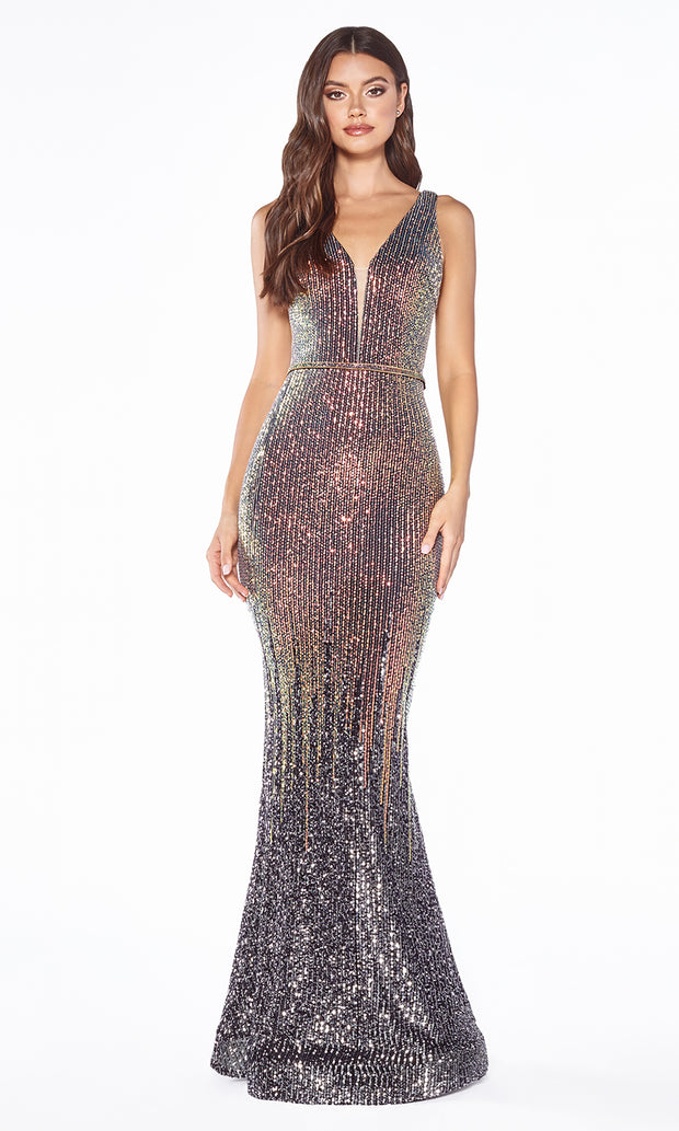 Cinderella Divine J9273 long gunmetal silver sequin beaded mermaid dress