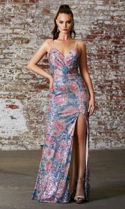 Cinderella Divine J9437 long open back sequin floral dress