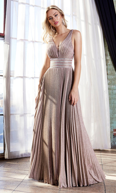 Cinderella Divine J9459 long metallic flowy dress