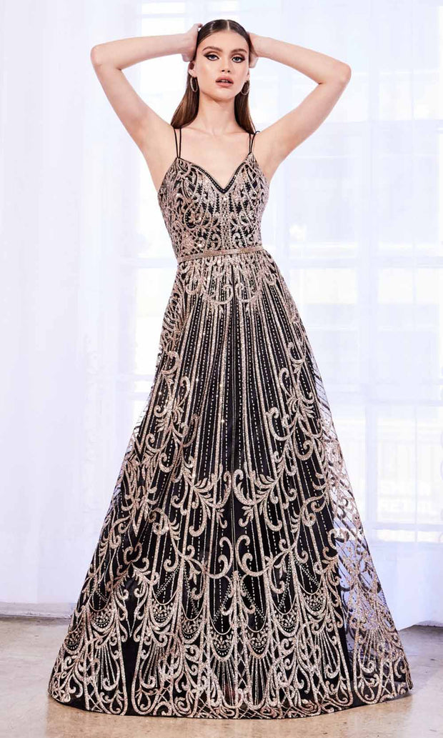 Cinderella Divine - J9790 Glitter Embellished Gown In Black and Gold
