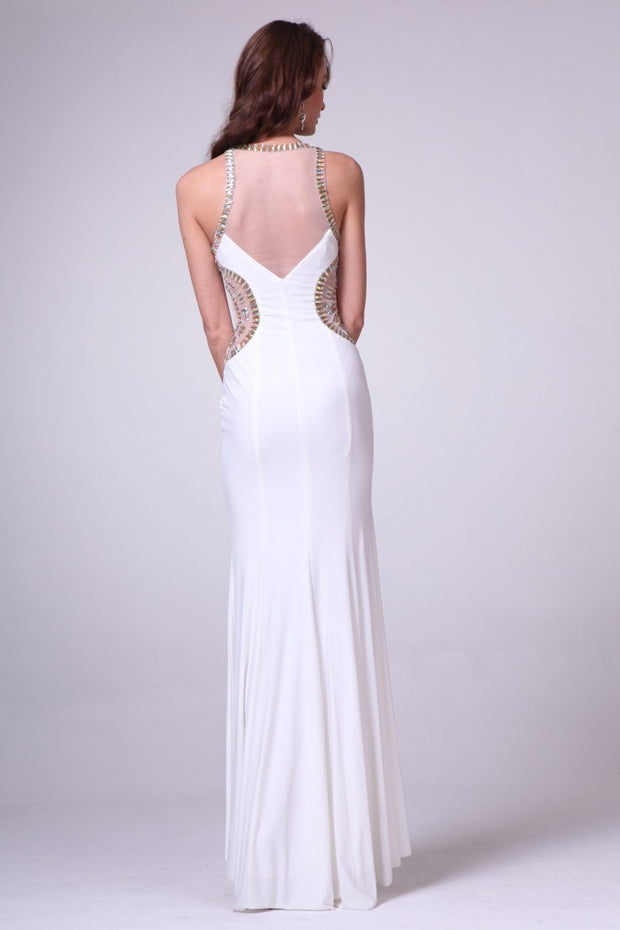 Cinderella Divine - JC3468 Beaded Sheath Dress In White