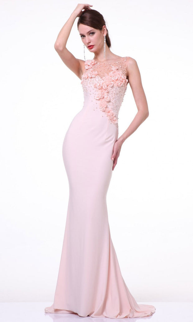 Cinderella Divine - JC4053 Beaded Flower Dress In Pink