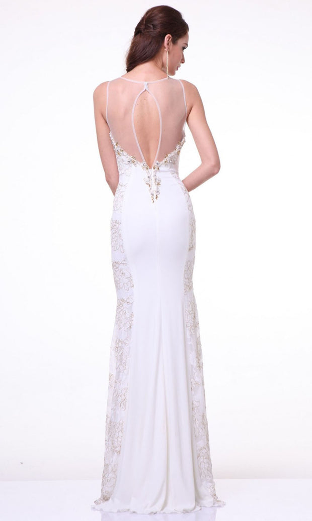 Cinderella Divine - JC4101 Beaded Sheath Dress In White