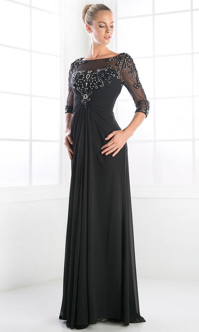 Cinderella Divine - JC4206 Adorned Column Formal Gown In Black