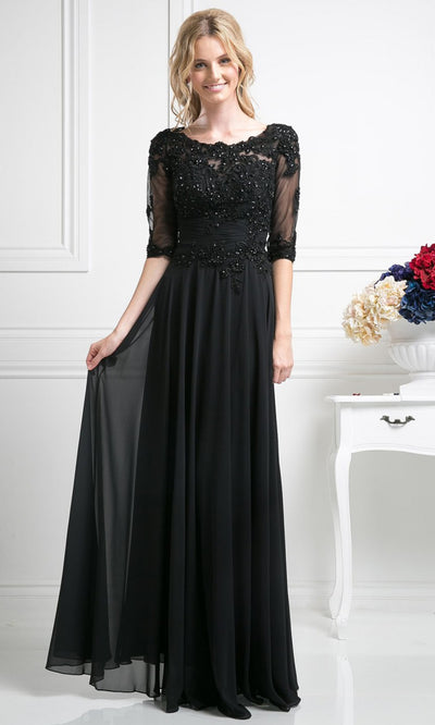 Cinderella Divine - JC4209 Embellished A-Line Gown In Black