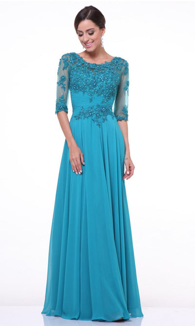 Cinderella Divine - JC4209 Embellished A-Line Gown In Blue