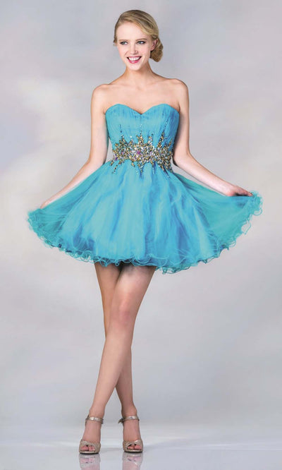 Cinderella Divine - JC870 Beaded Cocktail Dress In Blue