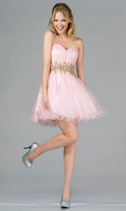 Cinderella Divine - JC870 Beaded Cocktail Dress In Pink