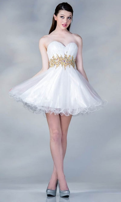 Cinderella Divine - JC870 Beaded Cocktail Dress In White