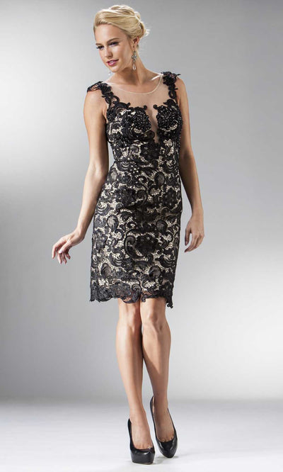 Cinderella Divine - JC925 Fitted Lace Short Dress In Black