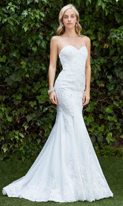 Cinderella Divine - KC1762 Sweetheart Embroidered Gown In White