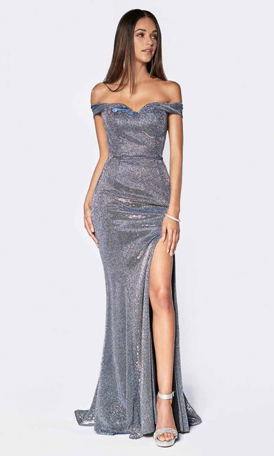Cinderella Divine - KC19057 Off Shoulder Glitter Gown In Blue