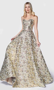 Cinderella Divine - KC19064 Metallic Brocade Gown In Gold