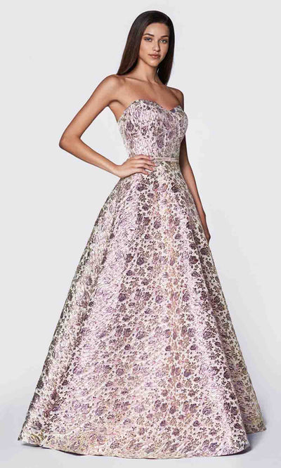 Cinderella Divine - KC19064 Metallic Brocade Gown In Purple