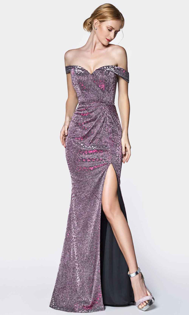 Cinderella Divine - KC870 Metallic Off Shoulder Gown In Purple