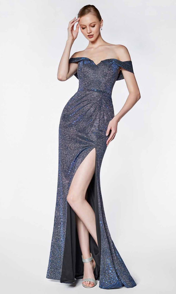 Cinderella Divine - KC870 Metallic Off Shoulder Gown In Blue