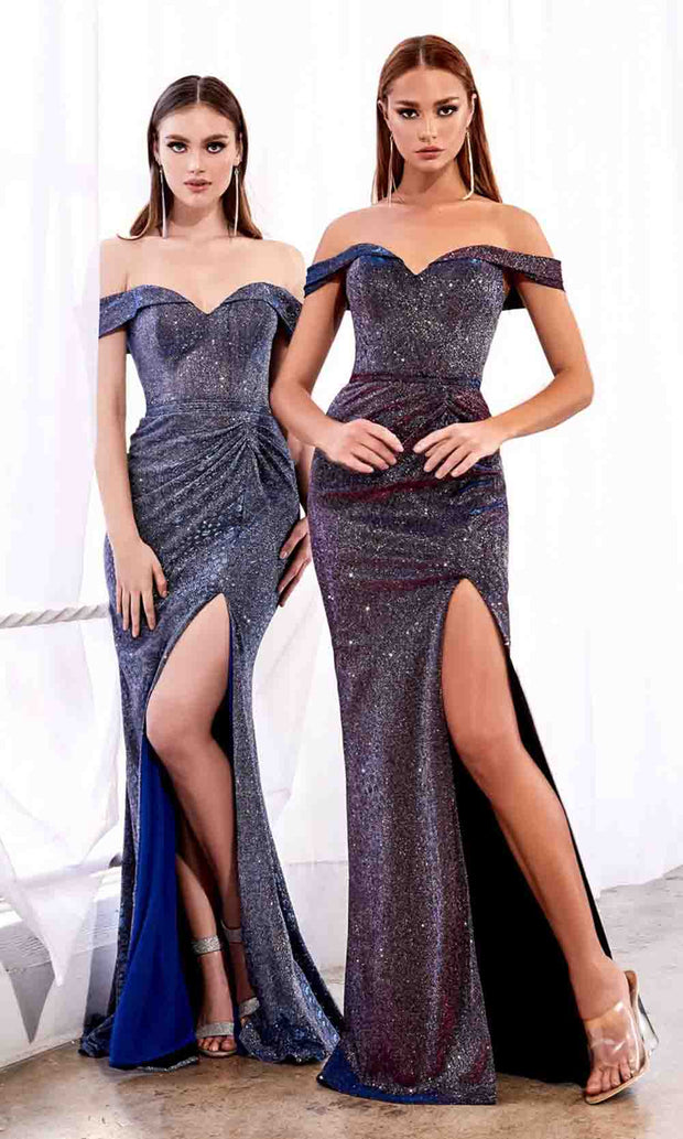 Cinderella Divine - KC870 Metallic Off Shoulder Gown In Purple and Blue