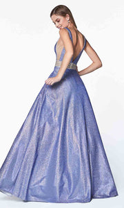 Cinderella Divine - KC873 Glitter V Neck Gown In Blue