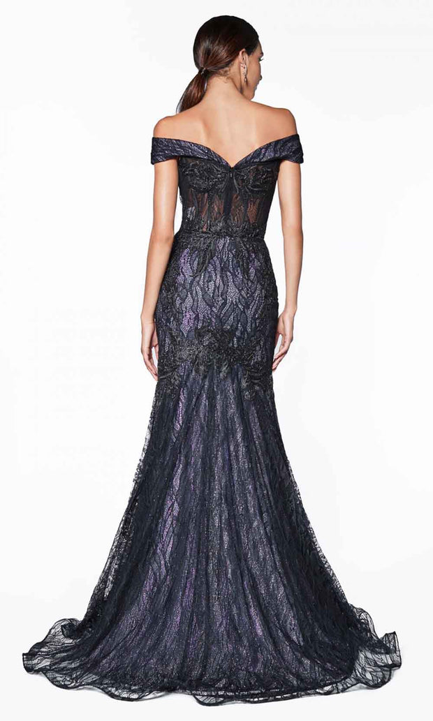 Cinderella Divine - KC874 Lace Trumpet Gown In Black
