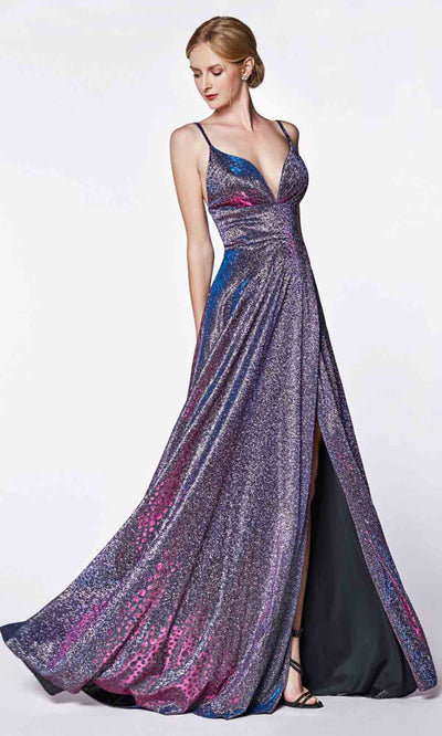 Cinderella Divine - KC878 Glitter A-Line Gown In Purple