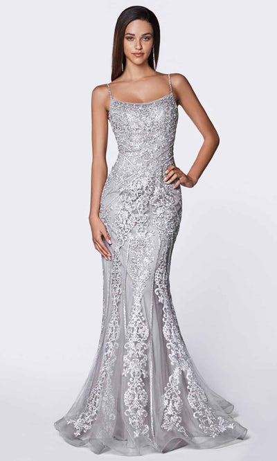 Cinderella Divine - KC885 Lace Mermaid Gown In Gray