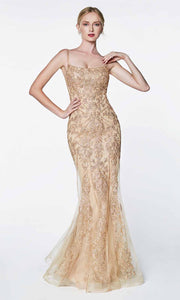 Cinderella Divine - KC885 Lace Mermaid Gown In Champagne