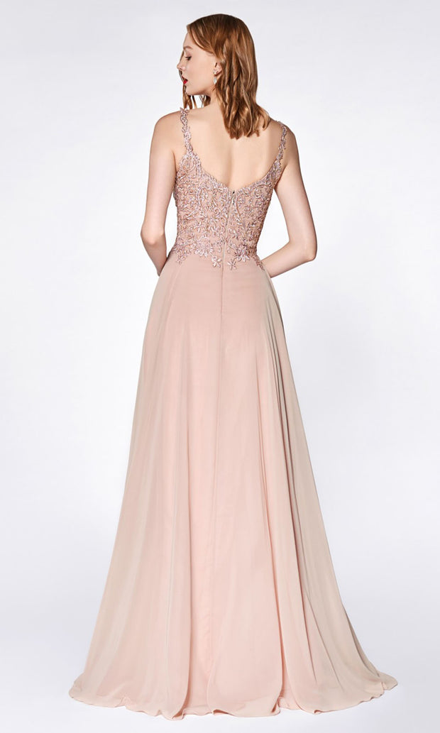 Cinderella Divine - KC886 Lace Chiffon Gown In Pink