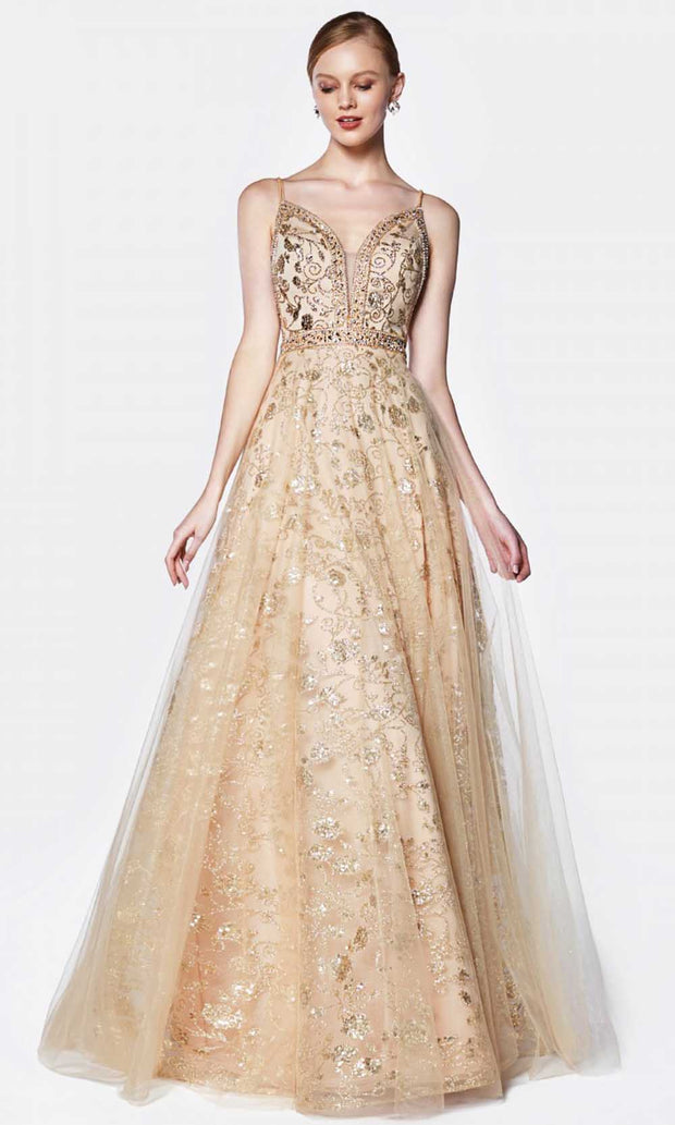 Cinderella Divine - KC888 Embellished A-Line Gown In Gold