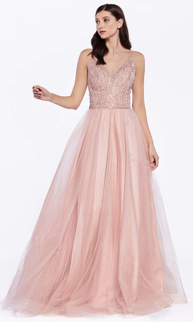 Cinderella Divine - KC892 Beaded Tulle Gown In Pink