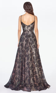 Cinderella Divine KC8932 long black lace semi ballgown dress - back