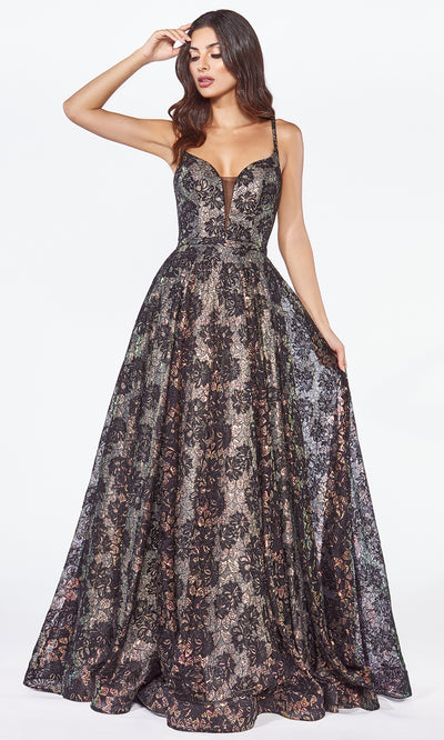 Cinderella Divine KC8932 long black lace semi ballgown dress