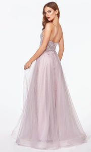 Cinderella Divine - KC897 Lace Tulle A-Line Gown In Purple