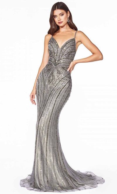 Cinderella Divine - KC898 Metallic Beaded Dress In Black