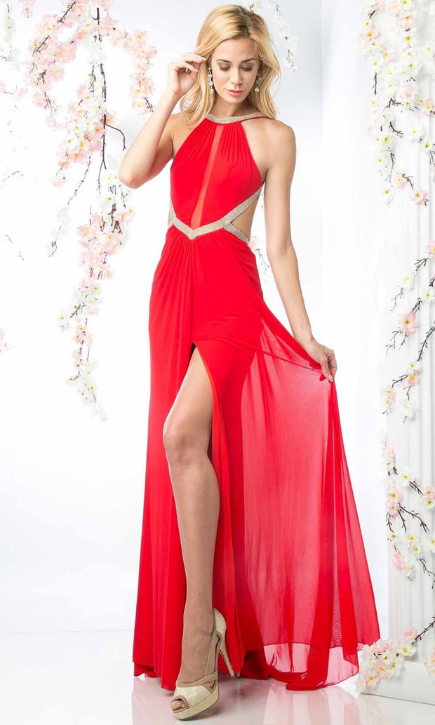 Cinderella Divine - KD019 Beaded Halter Dress In Red